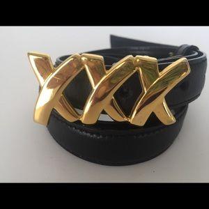"Paloma Picasso ""XXX"" Black Leather Belt"